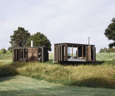 Fearon Hay has designed two elegant cabins that redefine what we've come to expect from a back-to-basics encampment. Cedar Shutters, Camping Set Up, Old Garage, Waterworks, New View, Closer To Nature, House And Home Magazine, Inspired Homes, Amazing Architecture