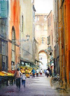 To the light, Bologna David Taylor #watercolor jd