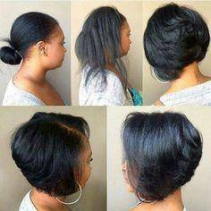 Must see brunette Bob hairstyles, Brunette Bob, Short Bob Hairstyles, Girl Hairstyles, Short Black Haircuts, Wedding Hairstyles, Curly Hair Styles, Natural Hair Styles, Natural Hair Blowout, Corte Y Color