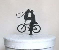 Bicycle Wedding Cake topper made of 1/8 black ABS    Size; 4.5Wx4.5H    We can make any sizes and any shapes, Just email your file for quote