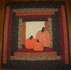 Harvest Pumpkin Mini Quilt for Table Decor or Wall Hanging, Handmade Primitive Autmun Home Decor in Warm Colors