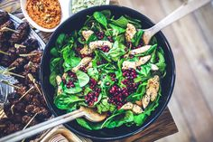 Spinach, chicken & pomegranate salad · Free Stock Photo