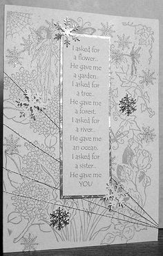 Oooh, I have to make this for my sister! Anniversary Card Sayings, Wedding Sayings, Snowflake Cards, Card Sentiments, Presents For Mom, Card Crafts, Card Sketches, Color Card, Card Designs