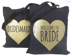 Bride to Be Tote Bag, Here Comes the Bride Tote Bag, Bride Glitter Tote Bags