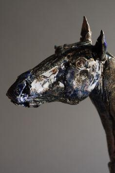 "Saatchi Online Artist: Gaynor Ostinelli; Ceramic, 2011, Sculpture ""Interpretation of a Black Horse"""