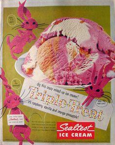 1956 Retro Sealtest Ice Cream Ad - Triple Treat -- Dig this crazy mixed-up ice cream!