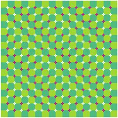 Primrose's Field - this checkered background consists of squares but appears to wave. In addition, this figure also shows a waving motion illusion