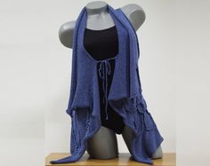 Blue sleeveless cardigan for ladies Knit floral by CleopatraArt, €45.50
