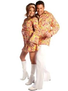 Some of the best costumes at any given Halloween party are a couple wearing similarly themed costumes. These couple Halloween costumes work so well because 70s Halloween Costumes, Funny Costumes, Theme Halloween, Halloween Dress, Adult Costumes, Costumes For Women, Adult Halloween, Halloween Couples, Theatre Costumes