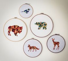 geometric animals embroidery//hide the good scissors// jordan strickland Geometric Embroidery, Modern Embroidery, Embroidery Thread, Cross Stitch Embroidery, Embroidery Patterns, Cross Stitch Patterns, Scissors Design, Diy Broderie, Cross Stitching