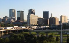 Impressive view of the Downtown Birmingham, Alabama skyline. The metropolitan area is home to more than 1.1 million people.