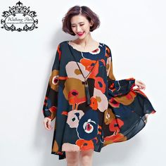 New Spring Dress Plus Size Tops Woman Chiffon Dress Long Sleeve Clothes Floral Print Loose Vintage Lady Casual Fashion Dress *** Continue to the product at the image link.