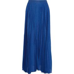 Alice + Olivia Katz metallic silk-blend jacquard maxi skirt (7.750 ARS) ❤ liked on Polyvore featuring skirts, pleated maxi skirt, long blue skirt, blue maxi skirt, asymmetrical skirt and leopard maxi skirt