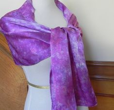 Large Silk Satin Scarf Shawl Hand Dyed Shades by RosyDaysScarves, $48.95