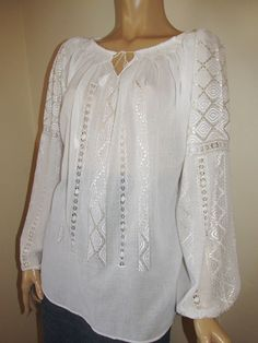 Hand embroidered Romanian blouse - white - ivory rhomb - size M/L Boho Fashion, Fashion Shoes, Fashion Beauty, Ethnic, Ivory, Costume, Traditional, Embroidery, My Style