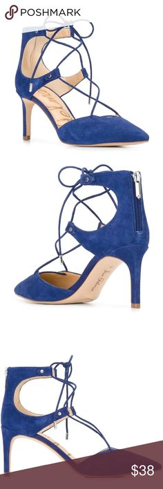 Sam Edelman lace-up pumps NWOT Blue suede 'Taylor' lace-up pumps from Sam Edelman. Super cute Sam Edelman Shoes