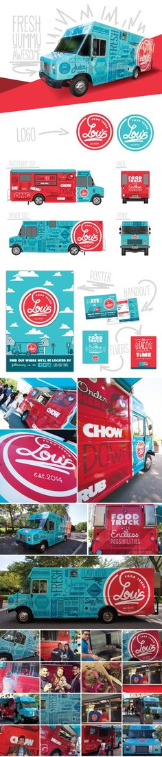 Food Inspiration  Lou's Food Truck on Behance. Great use of colors and I love it how this is s