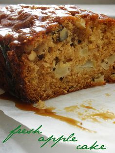 The Cake Slice: Fresh Apple Cake with Brown Sugar Glaze made into a loaf.  Also modified for 9x13 or 8x8