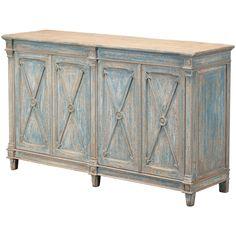 La Mer Antique Blue Cabinet - Coastal Cottage
