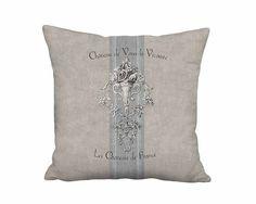 Chateau de Vaux-le-Vicomte Grain Sack Style French Cottage Pillow Cover 12x 14x 16x 18x 20x 22x 24x 26x 28x Inch Linen Cotton Cushion Cover