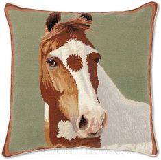 """Handmade Needlepoint Kentucky Derby Triple Crown Horse Pillow. 20"""" x 20"""". Horse Gifts, Gifts For Horse Lovers, Kentucky Derby, Custom Playing Cards, Derby Party, Mammals, Needlepoint, Cow, Moose Art"""