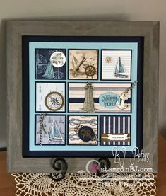 & Monthly Class Kit to Go NEW! Monthly Class Kit to Go! – BJ& Stampin& Spot The post Monthly Class Kit to Go appeared first on Dekoration. Box Frame Art, Shadow Box Frames, Diy Frame, Nautical Cards, Nautical Theme, Stampin Up, Collage Frames, Collages, Stamping Up Cards