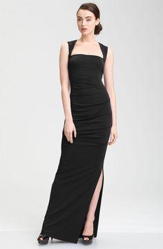 Open Back Jersey Black Long Dress