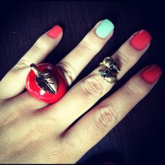 My nails and my rings <3