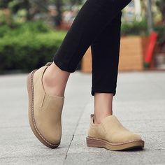 04ccd598db5 Suede Pure Color Lazy Casual Flat Shoes