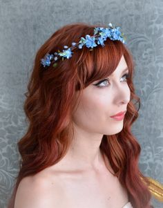 Flower crown, blue floral headband, woodland circlet, whimsical hair accessory