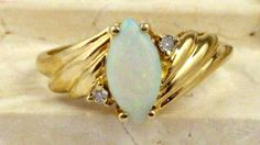 Solid 10K Gold Opal & Diamond Ring Marquise by My3LadiesJewelry, $199.99