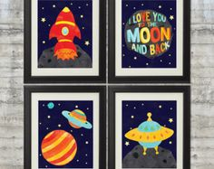 Kids Wall Art I love you to the moon and by PrintsAndPrintables