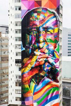 Artist: Eduardo Kobra + 4 painters paint 52 meter high mural on skyscraper exterior honoring Oscar Niemeyer, SaoPaulo, Brazil