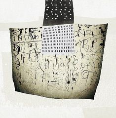 Miroslava Rakovic - Mixed media with Asemic writing Black And White Painting, Black And White Abstract, Mixed Media Collage, Collage Art, Modern Art, Contemporary Art, Magazine Collage, Art Bag, Foto Art