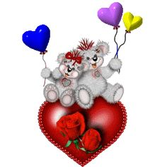 Tatty Teddy's Sitting On Red Heart With Colorful Balloons In Hand