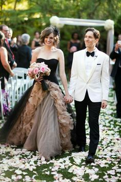 Black champegne wedding gown