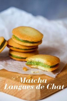 A Japanese take on a classic French cookie also known as cats tongue. Matcha Cookies, French Cookies, Matcha Tea Powder, Traditional Bowls, Green Kale, Organic Matcha, Healthy Drinks, Fun Desserts