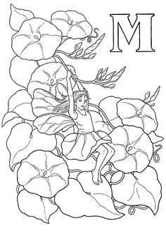 Flower Fairy Alphabet Coloring Pages Coloring Letters, Alphabet Coloring Pages, Printable Coloring Pages, Coloring Books, Fairy Coloring Pages, Adult Coloring Pages, Butterfly Fairy, Flower Fairies, Letters And Numbers