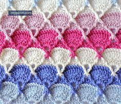 Crochet Textured Stitch Tutorial - (mypicot) thanks so xox ☆ ★ https://uk.pinterest.com/peacefuldoves/