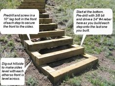 How to build steps up a hill. {Looks like a dad project!}