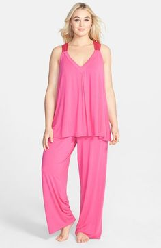Midnight by Carole Hochman 'Luxurious' Satin Trim Pajamas (Plus Size) Magenta 1X
