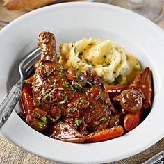 Slow-Cooker Coq au Vin   Williams-Sonoma Cooked this today with out the leak substituting onion. Also didn't thicken the sauce at the end. It was really wonderful.