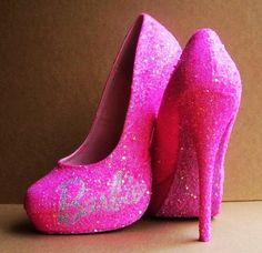 'CUTE FOR THE CLUB' - Pink Barbie Glittered High Heels by TattooedMary on Etsy - LoveItSoMuch.com