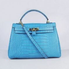 69657a0422e Hermes Kelly 32 Crocodile with Gold Hardware (Blue) via Polyvore Hermes  Kelly