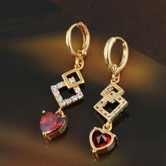 40mm 18K Gold Plated Fashion Shining Heart Design Double Square Copper Drop Earrings