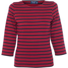 Saint James Galathee Red And Navy Shirt ($95) ❤ liked on Polyvore featuring tops, stripes, 3/4 sleeve tops, red top, cotton shirts, navy blue shirt and striped sailor shirt