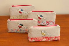 Bird freehand machine embroidery zipper pouch