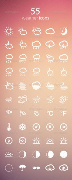 Buy Weather Icons by mygreed on GraphicRiver. This is a pack of 55 weather icons is ideal for a clean and modern web, print design and more! Graph Design, Icon Design, Print Design, Metro Icons, Weather Application, Simple Weather, Cloud Tattoo, Cloud Icon, City Icon