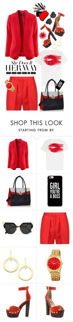 """SHE DOES IT HER WAY"" by shortyluv718 ❤ liked on Polyvore featuring Maison Margiela, Fendi, Vionnet, Vita Fede, August Steiner, Luichiny, red, shorts, platforms and platformsandals"
