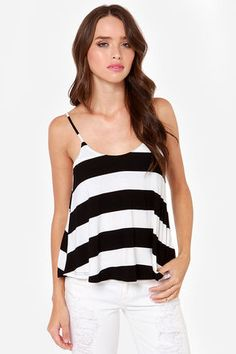 When the Mood Stripes Black and Ivory Striped Tank Top: For the girl who loves stripes every day, or just on occasion, this top is the perfect fit for you. Stretchy jersey knit is super soft and perfectly stylish down a low-cut a-line bodice. Small back keyhole with top button closure. Adjustable spaghetti straps. Unlined. Hand wash cold XS $34.00